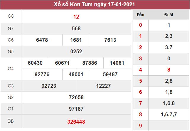 Kết quả xổ số Kon Tum chủ nhật ngày 17/1/2021